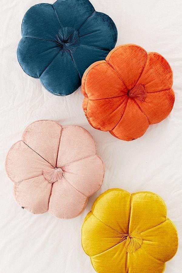 leela velvet flower throw pillow