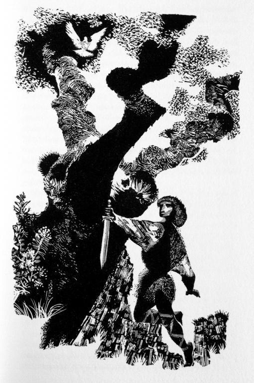 PARSIVAL – LOHENGRIN, written by GERHART HAUPTMANN was newly published in 1963 by the german ULLSTEIN verlag with illustrations JIRI TRNKA. Scraperboard