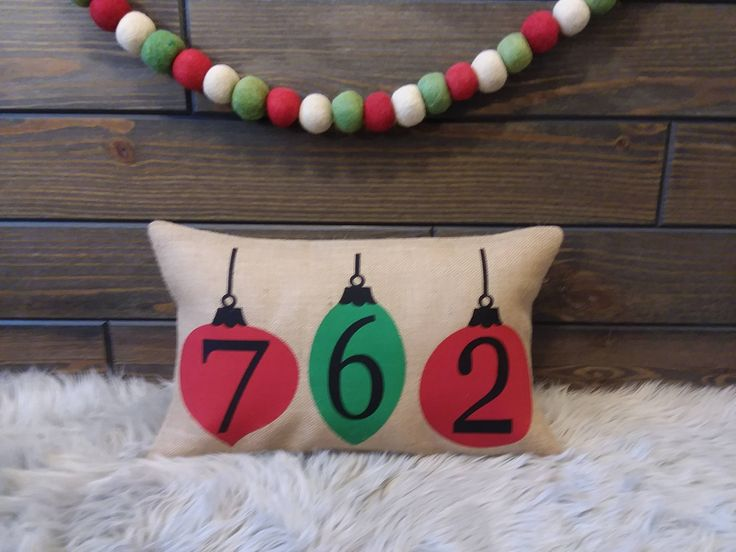 Christmas Outdoor Burlap Address Number Zip Code Pillow by TheWestGarden on Etsy