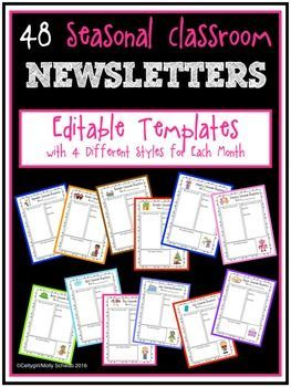 Seasonal Classroom Newsletters with Editable Templates
