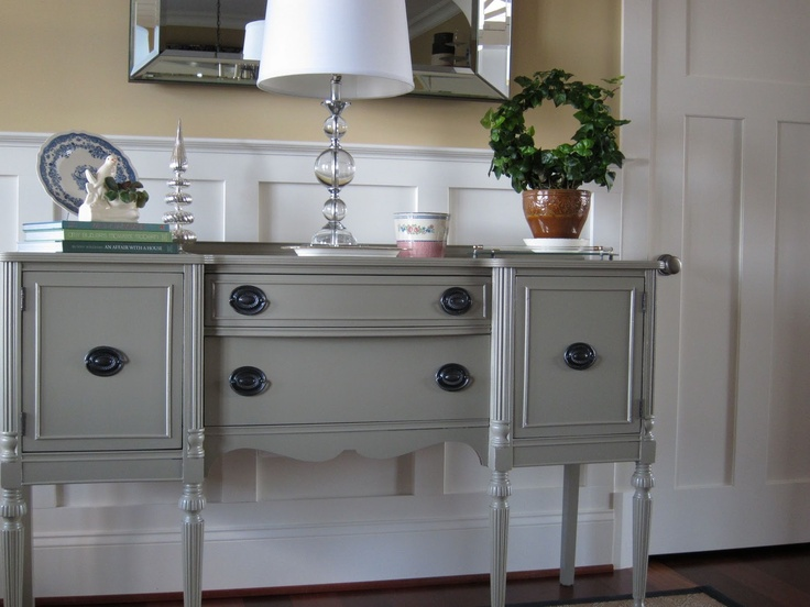 Good color to paint my antique buffet. Gettysburg Grey painted sideboard