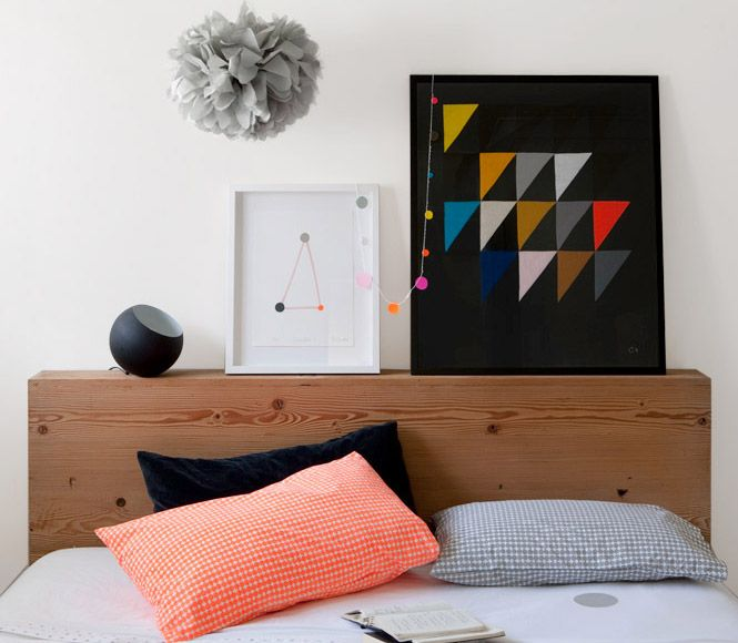 vía trés plus cool: Triangles, Color, Headboards, Beds Head, Art, Castles, Bedrooms, Bedhead, Pillows