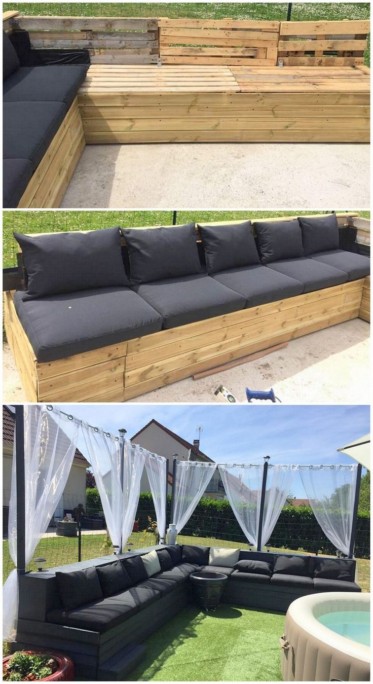 For the perfect settlement of large gatherings in your house garden, why don't you just think about adding this mind-blowing wood pallet patio garden couch furniture set? Well, its a large setting of the 8 seated couch design where the black hues shading of the wood pallet is the main attraction of the whole concept.