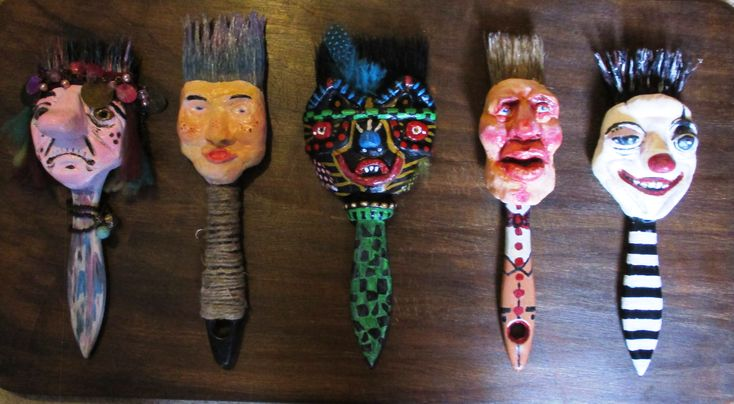 Brush Heads made from old paint brushes and fixed onto an old breadboard