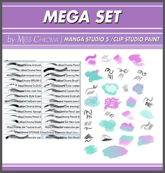 Mega Set brushes for Manga Studio 5 and Clip di MissChromaArts