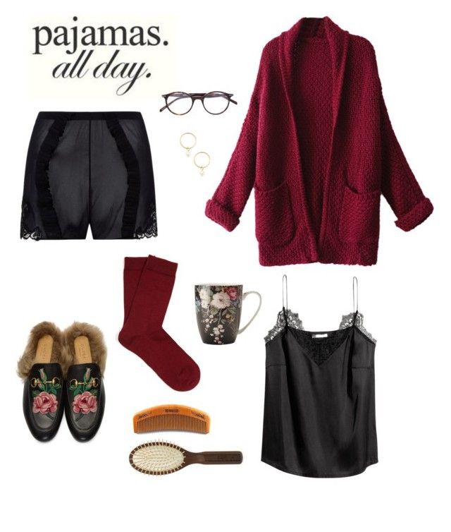 """Black satin, lace & burgundy: pyjamas all day"" by sept8th ❤ liked on Polyvore featuring La Perla, WithChic, Falke, Gucci, CÉLINE, Renvy, Ibiza and LovelyLoungewear"
