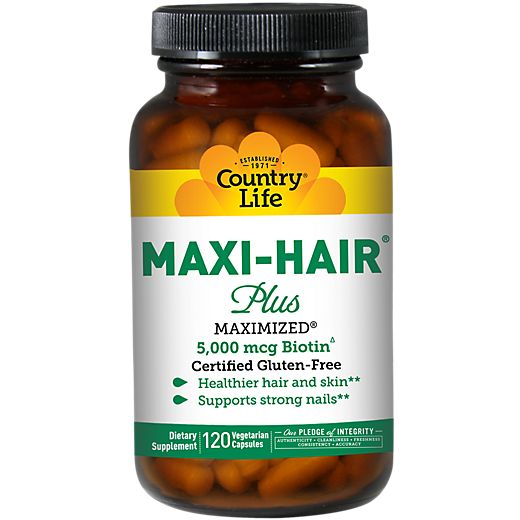 Maxi-Hair Plus (120 Veggie Caps) by Country Life at the Vitamin Shoppe Mobile