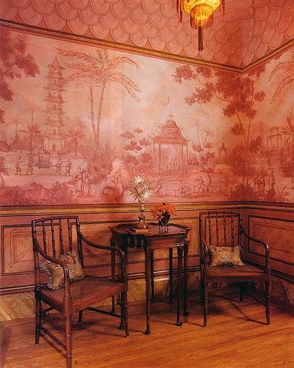 British Colonial Oriental Panelling, Mural  and Chairs - Nice chairs (Michael J. Dute, Designer)