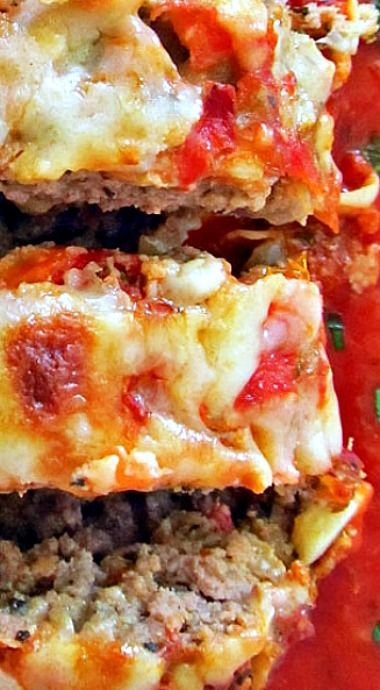 Italian Meatloaf - Packed full of Italian flavor with sautéed aromatic veggies and fresh tomatoes followed by tomato sauce, mozzarella, Parmesan, and Italian seasoned bread crumbs. ❊