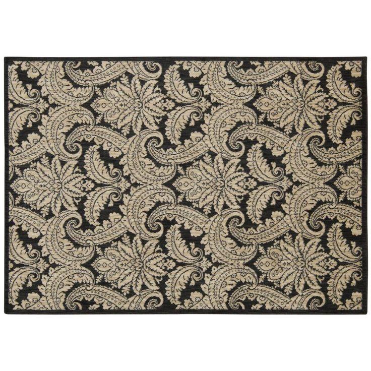Nourison Aristo Floral Damask Rug, Black