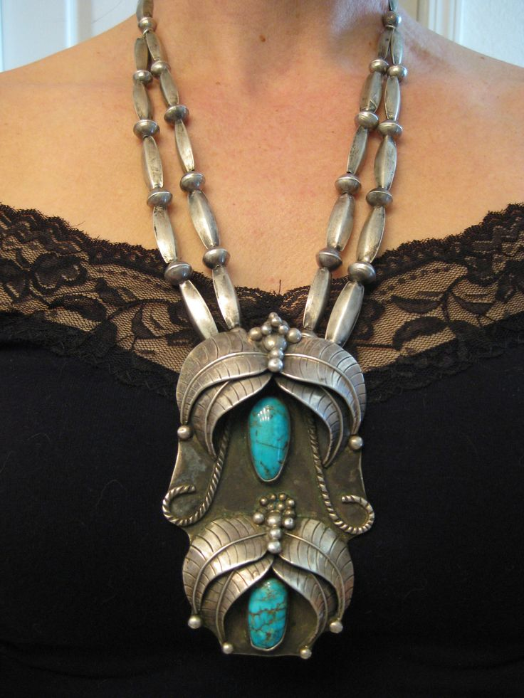 """5.3 oz. Huge Signed Old Pawn Navajo or Hopi Turquoise Double Strand Old Melon Beads Necklace 4.25""""L x 2 5/8""""  $2025"""