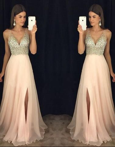 Long Blush Pink Chiffon Beaded Prom Dresses V Neck Maxi Formal Dresses with Slit APD1922