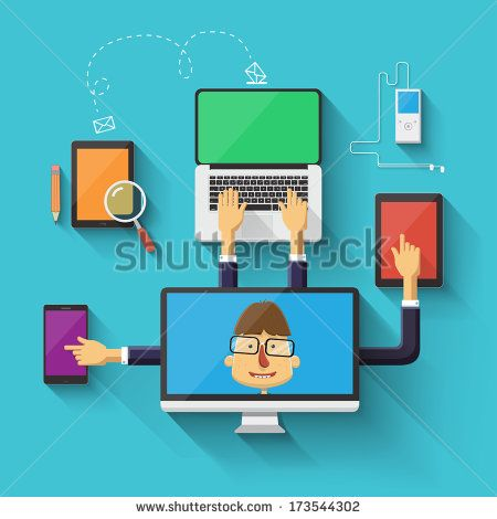 Geek character working on devices. Vector illustration