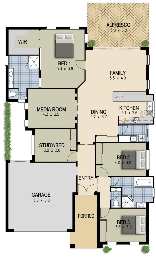4 Bed + Media Room  kithome plan