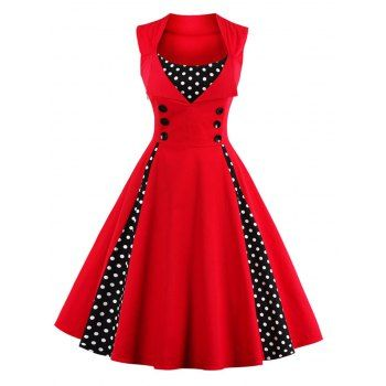 SHARE & Get it FREE | Retro Button Embellished Polka Dot DressFor Fashion Lovers only:80,000+ Items·FREE SHIPPING Join Dresslily: Get YOUR $50 NOW!
