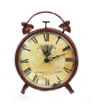 Zegar retro metalowy do postawienia w kolorze miedzianej czerwieni