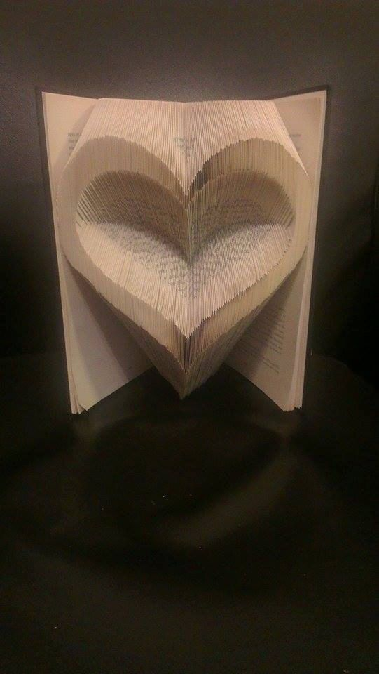 Folded Book with concave heart using a pattern by FoldilocksBookArt