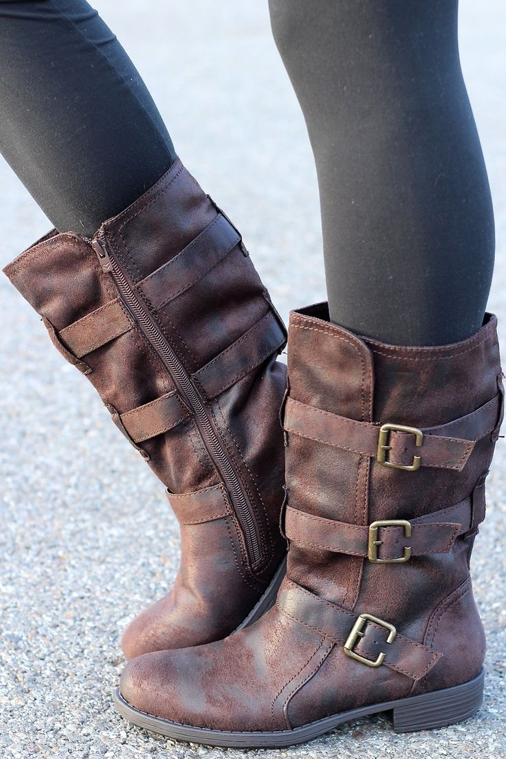NanaMacs Boutique - Charlie Three Buckle Suede Wash Mid-Calf Boots, $74.00 (http://www.nanamacs.com/charlie-three-buckle-suede-wash-mid-calf-boots/) I WANT THESE