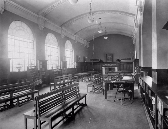 Bloor & Gladstone Branch,1913,  Toronto Public Library Picture/photograph .. Bloor St. W., south west corner Gladstone Ave.; INTERIOR, children's room. Toronto, Ont.  See also the photo showing the room full of children.