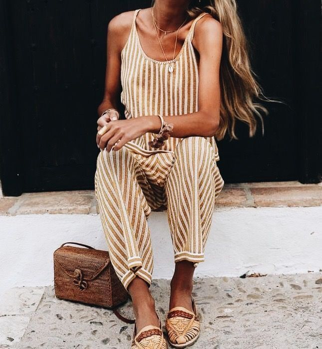 Cute vacation jumpsuit. LOVING HER AWESOME OUTFIT, WITH CUTE STRIPED JUMPSUIT, FABULOUS SHOES & INCREDIBLY GORGEOUS BAG!! - LOOKS AMAZING!!