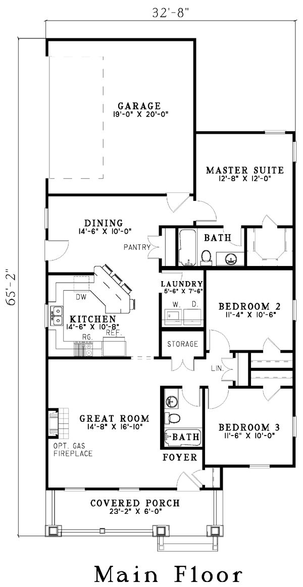 First Floor Plan of Bungalow   House Plan 61201