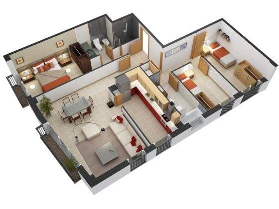 Plano de departamento de tres habitaciones