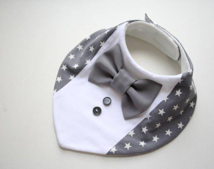 Niño babero, babero de bautizo, camisa pajarita Babero bebé pañuelo babero desprendible pajarita, regalos de bebé para recién nacidos, estrellas de niño gris