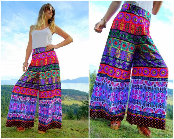 Floral PALAZZO Pants Boho Chic Hippie Pants / Gypsy Festival / 60's Wide leg Flare / Alex Coleman High Waisted Pants / Maxi Skirt Pants / on Etsy, $56.00