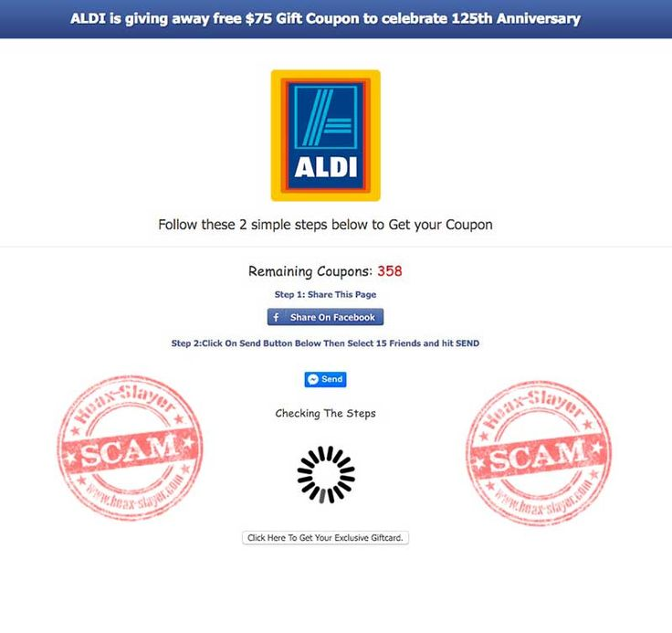 Get a Free $75 Aldi Gift Card' Facebook Scam | Hoax-Slayer ...
