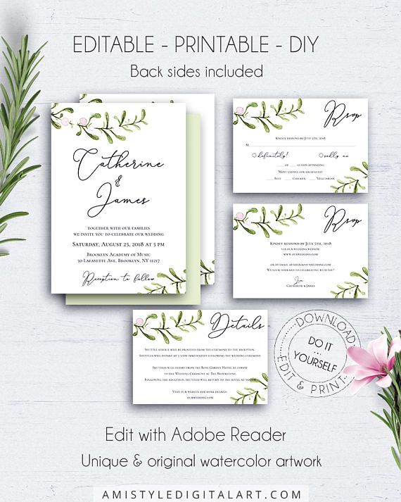 Watercolor Wedding Invitation Set, with beautiful watercolor greenery branches in a minimalist and rustic style.This nice wedding invitation template suite listing is an instant download EDITABLE PDF so you can download it right away, DIY edit and print it at home or at your local copy shop by Amistyle Digital Art on Etsy