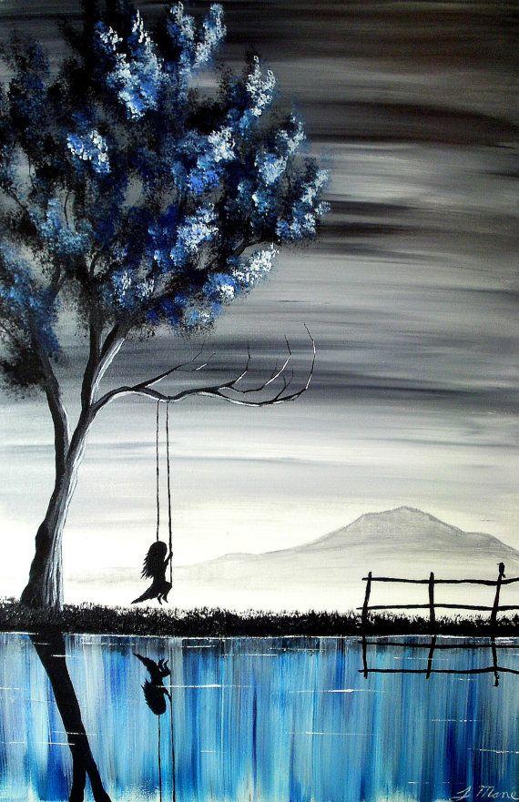 Wow. Je ne trouve pas les mots pour dir à quel point cette peinture est belle. les couleurs froides et sombres me font penser à la tristesse et la petite qui se balance me rappelle la solitude.