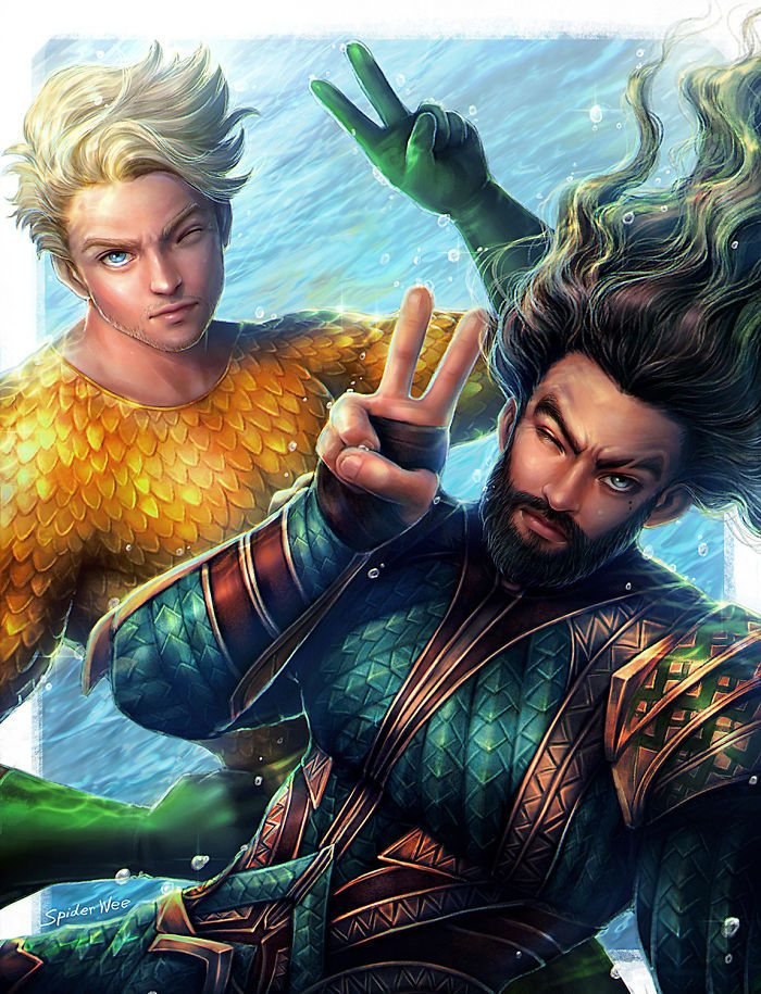Artist Illustrates What Superheroes Look Like When They Are Not Busy Fighting The Bad Guys Superhero Aquaman Dc Comics Art