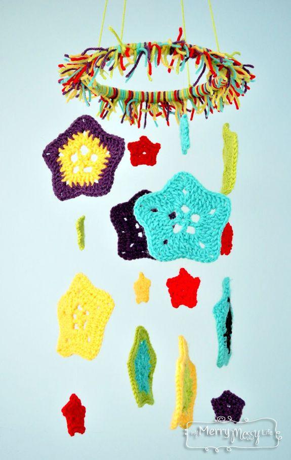 Crochet Star Baby Mobile Pattern via My Merry Messy Life