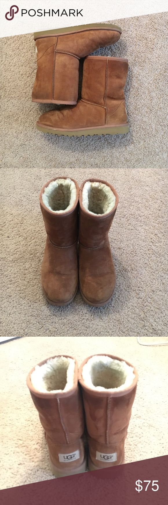 Classic Short Ugg boots in Chestnut Gently used chestnut Ugg boots. They've been great for the winter months! Very warm and pretty much will go with everything because of the neutral color. There are little creases from wear in the front and back (as showed in pics above). I do have the original box that I store them in. Offers can be made. UGG Shoes Winter & Rain Boots