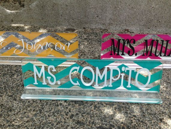This is 10 inch personalized acrylic desk name plate. This name plate is perfect for teachers, secretary or just anybody! It comes in two