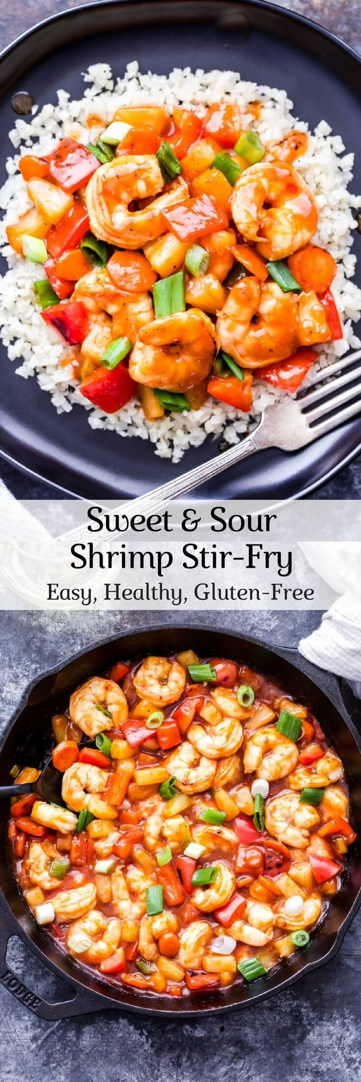 Sweet and Sour Shrimp Stir-Fry  Gluten-free and on the table in 30 minutes or less!  Frozen shrimp, carrots, bell pepper, scallions, garlic, pineapple  Sauce: ketchup, pineapple juice, apple cider vinegar, honey, soy sauce, ginger, cornstarch