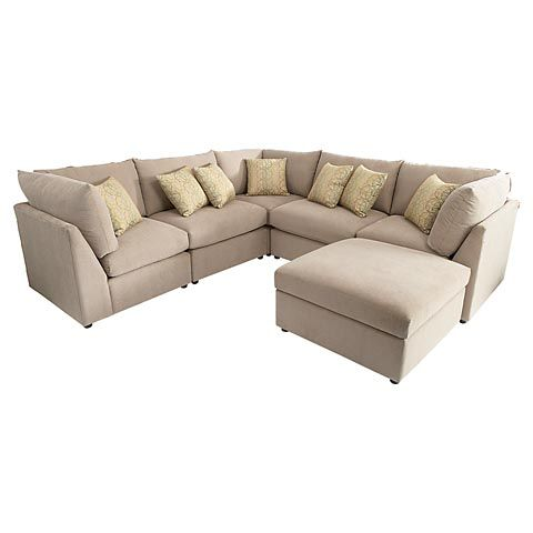 U-Shaped Sectional - love this shape for the living room with the ottoman that creates a faux chaise