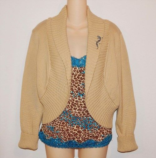 29.99$  Buy here - http://vinwv.justgood.pw/vig/item.php?t=9s7geb7112 - 3-Piece Tan Shrug Sweater Jacket Animal Print Cami Size M Rhinestone Lizard Pin 29.99$