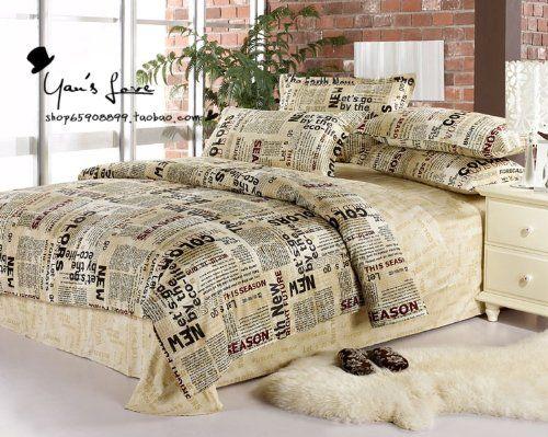Cliab Home Textile Newspaper Print Bedding News Print Duvet Cover