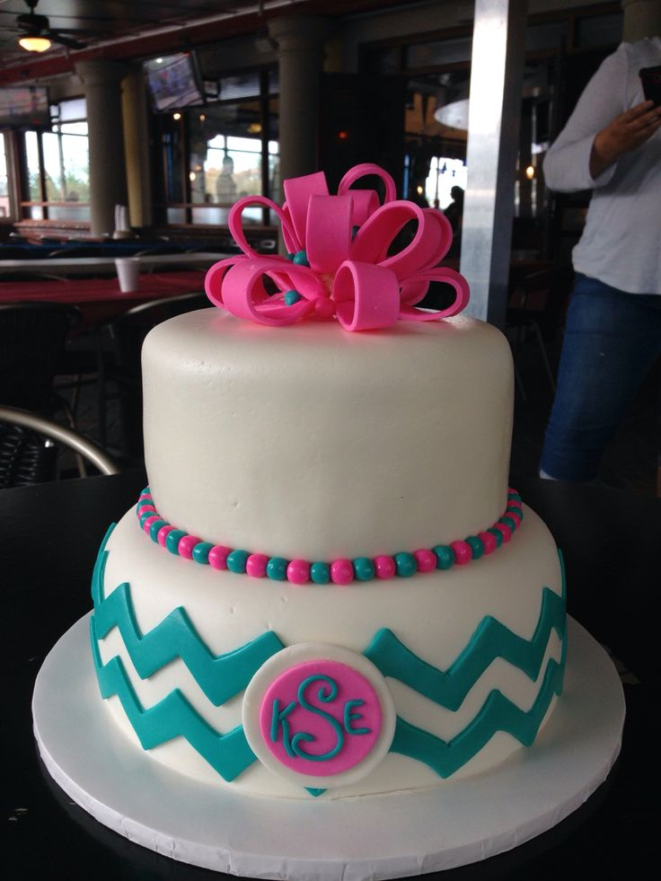 Chevron Birthday Cake Pink and teal birthday cake with gumpaste bow