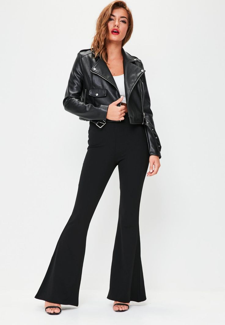Missguided - Black Kick Flared Trouser