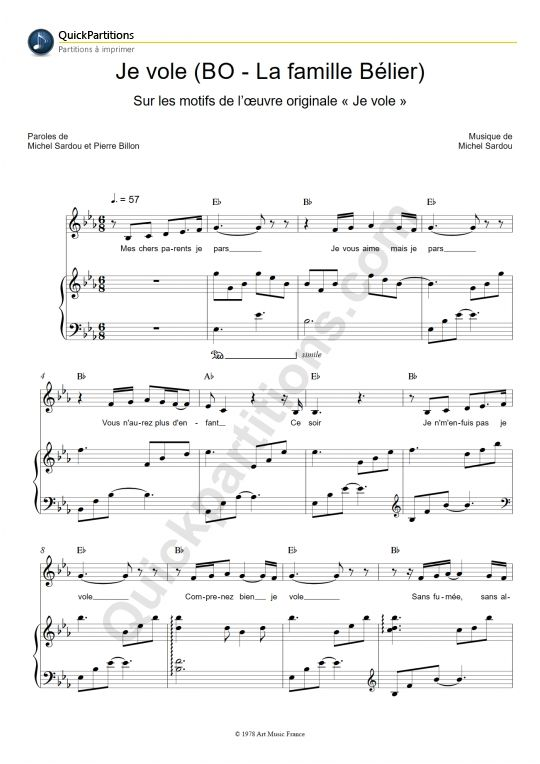 Partition Piano Je vole -  Louane
