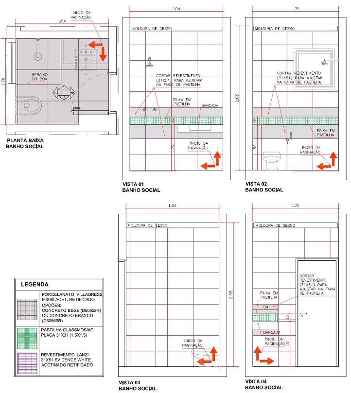 Veja este exemplo de projeto de paginação de pisos e paredes e repare em todos os detalhes indicados pelo arquiteto.