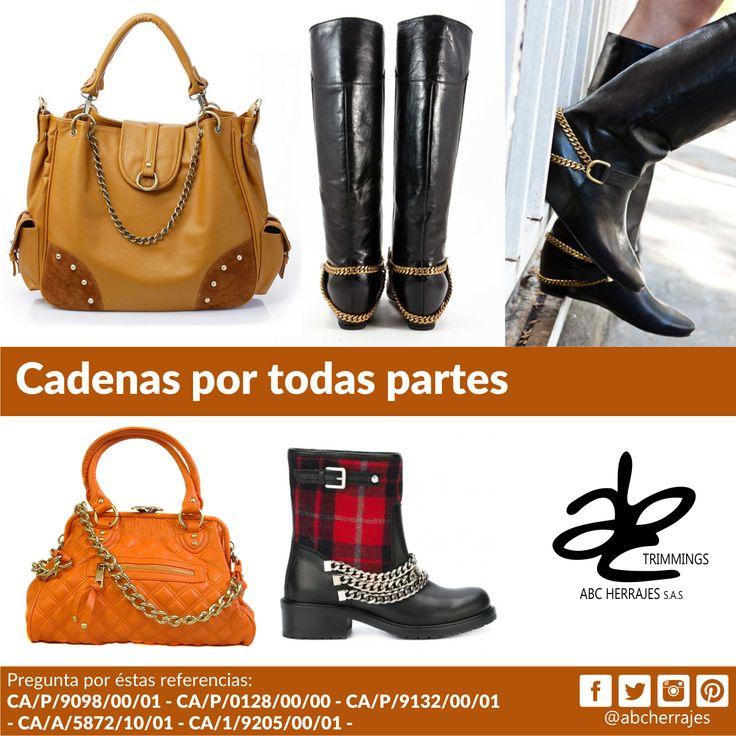 #Cadenas por todas partes. En tus #Bolsos #Carteras #Botas #Zapatos y mucho más. #ABCHerrajes #Marroquineria #Calzado #Herrajes #Moda #Estilo #Diseño Nos puedes encontrar en: #Bogota: Calle 74A # 23-25 / Tel: 2115117 #Medellin: Diagonal 74B # 32-133 / Tel: 3412383 #Barranquilla: Cra. 52 # 72-114 C.C. Plaza 52 / Tel: 3690687 Visítanos en: www.abcherrajes.com