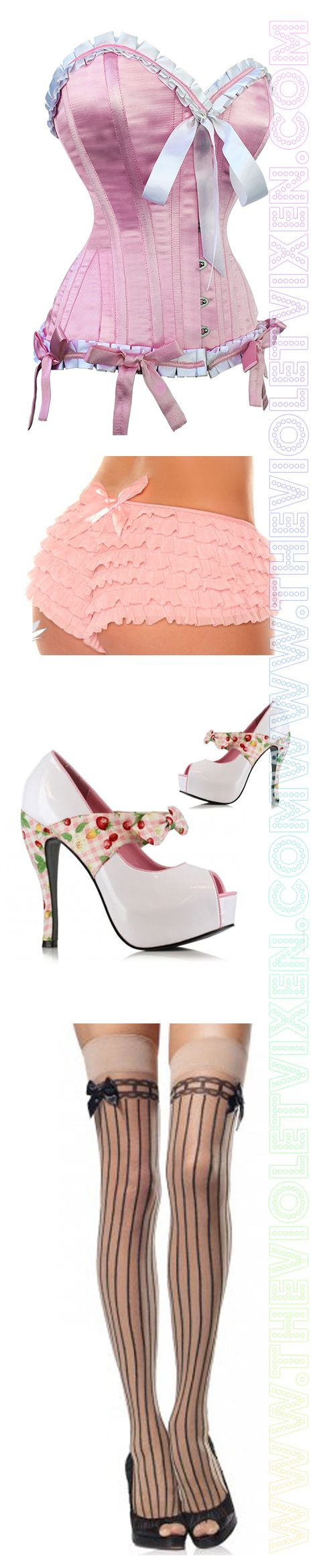 Pink Pin-Up Pretty corset, ruffle panties, picnic cherry wrap platform heels and knee high stockings. Pin up <3 <3 Steel boned waist training pink satin corset with white bows! <3 Sugar! www.thevioletvixen.com