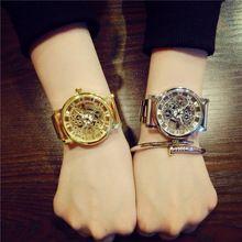Nova Marca de Moda de Luxo Casual Aço Inoxidável Homens Relógio Esqueleto Mulheres Vestido Relógio de Pulso de Quartzo de Aço Oco Relógios Homens alishoppbrasil