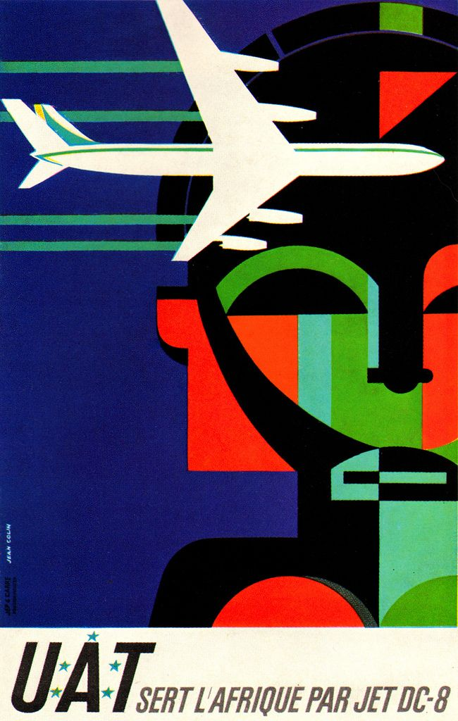 Jean Colin Illustration Poster for jet service to Africa by Union Aeromaritime de Transport. From Graphis Annual 63/64.