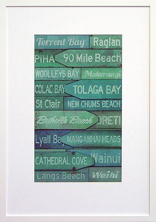 NZ beach names art print $159