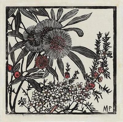 Tea-tree and Hakea petiolaris, 1936 Woodcut by Margaret Rose Preston