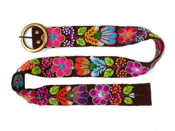 Geborduurde riem bruine riem riemen peruaanse door PeruvianBelts, $26.99